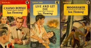 De amerikanska utgåvorna av Ian Flemings tre första James Bond-böcker.