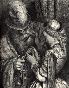 Riddar Blåskägg med sin fru, tecknad av Gustav Doré.